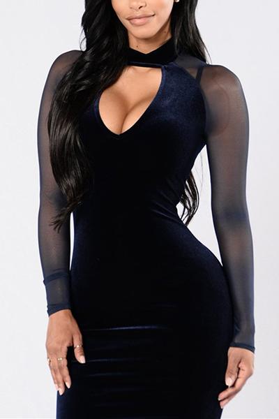 Sexy Choker Neck Long Sleeves Hollow-out Patchwork Dark Blue Velvet Sheath Knee Length Dress