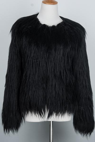Trendy Long Sleeves Black Faux Fur Coat