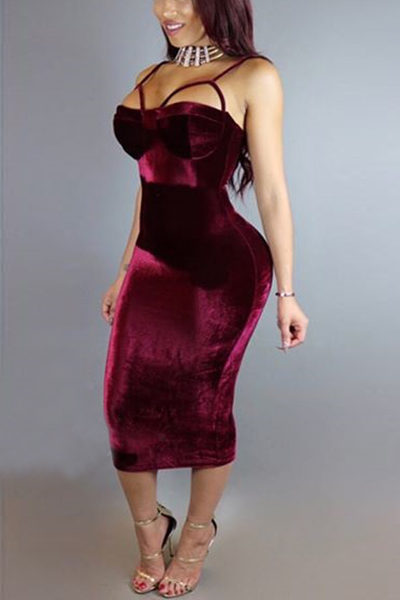Sexy Spaghetti Straps Sleeveless Hollow-out Wine Red Velvet Sheath Mid Calf Dress Dresses <br><br>