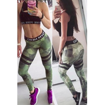 Stylish Elastic Waist Printed Patchwork Army Green Cotton Leggings