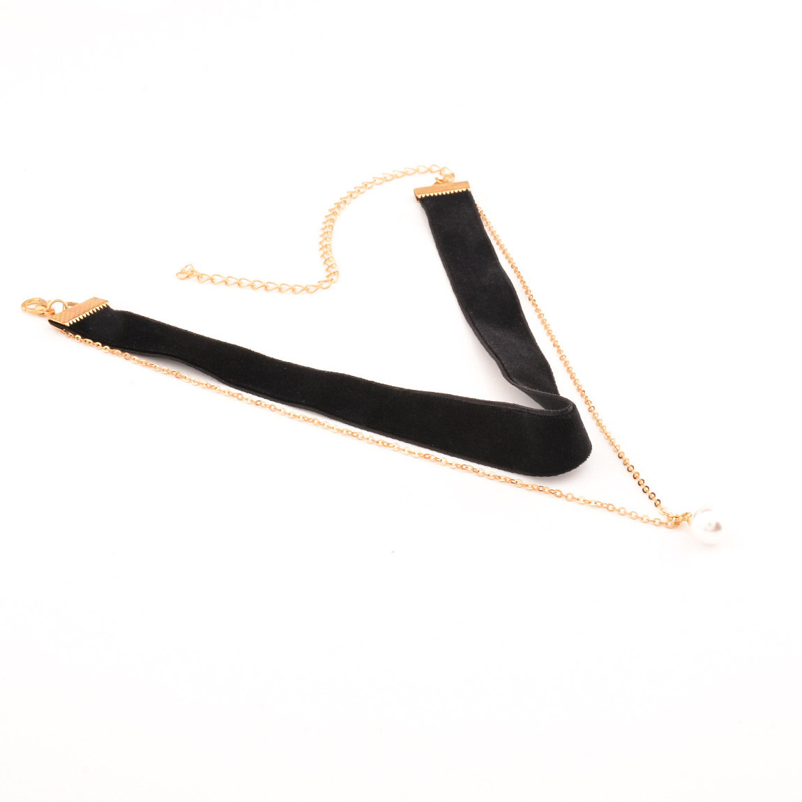Fashion V-shaped Design Black Flocking Necklace