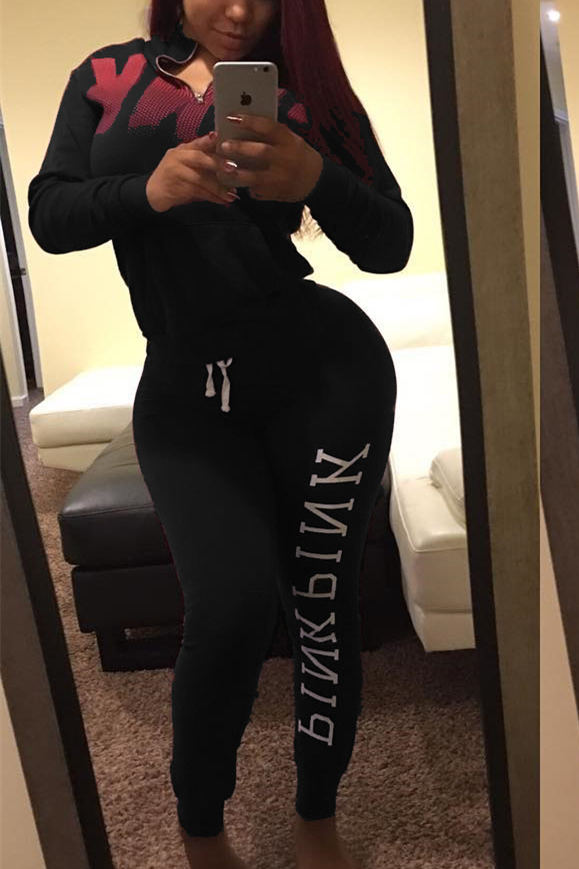Leisure Turtleneck Long Sleeves Letters Printed Black Qmilch Two-piece Pants Set