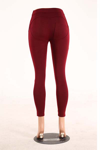 Elegante Mid Waist Polyester Patchwork Wine Red Polyester Leggings