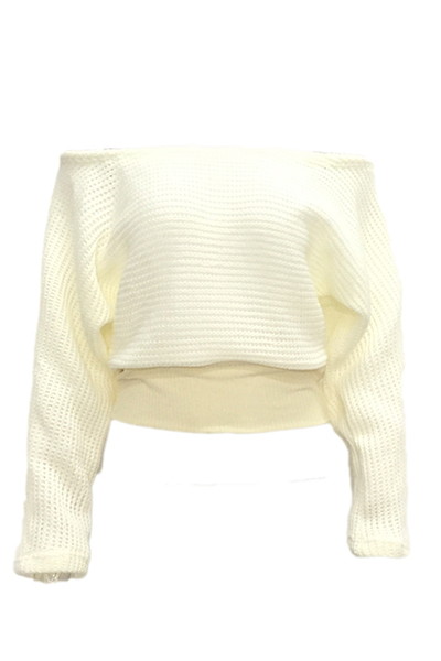 Contracted Style Bateau Neck Long Sleeves White Acrylic Sweater
