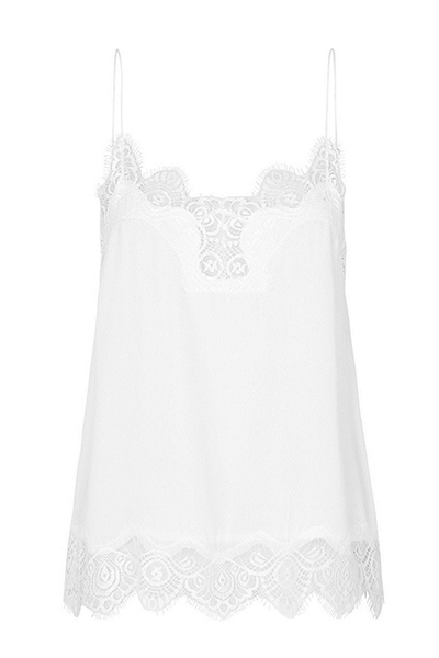 Sexy Spaghetti Strap Sleeveless Lace Trim Patchwork White Mulberry Silk Tank Top
