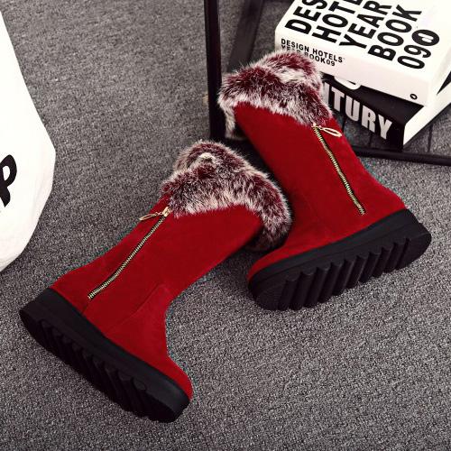 стильный круглый дизайн носок молния низкий каблук красный замшевые ботинки снега