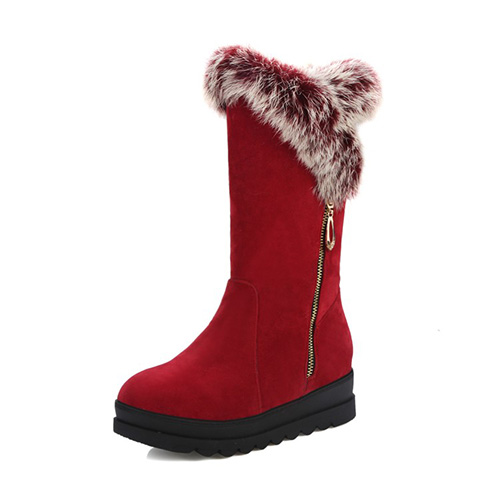 Stylish Round Toe Zipper Design Low Heel Red Suede Snow Boots