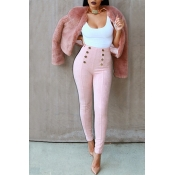 Stylish High Waist Double-breasted Decorative Pink Cotton Skinny Pants