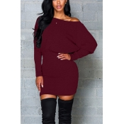 Contracted Style Bateau Neck Long Sleeves Wine Red