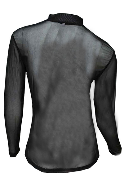 Sexy Turtleneck Long Sleeves Hollow-Out Mesh Patchwork Black Pullover Base Layer
