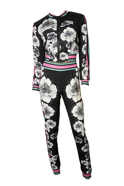 Euramerican Mangas Largas Imprimir Pantalones De Dos Piezas De Poliéster Negro (chaqueta + Pantalones)