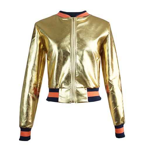 Trendy Round Neck Long Sleeves Patchwork Gold Faux Fur Short Coat