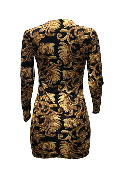 Sexy Deep V Neck Long Sleeves Printed Healthy Fabric Sheath Mini Dress