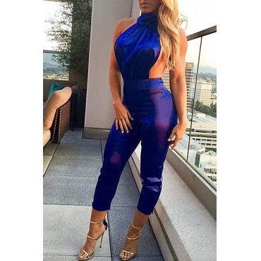Sexy Halter Neck Backless Blue Polyester One-piece Skinny Jumpsuits