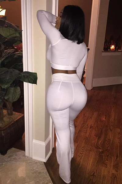 Sexy Deep V Neck Long Sleeves High Waist White Polyester Two-piece Pants Set