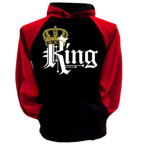 Leisure Hooded Collar Long Sleeves Letters Printed Red And Black Combination Polyester Pullover