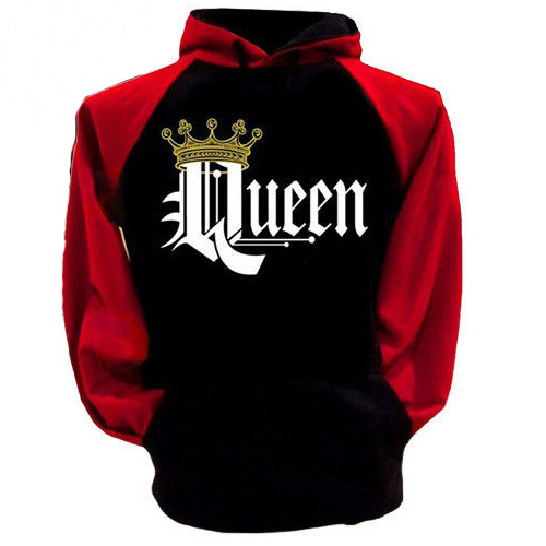 Leisure Hooded Collar Long Sleeves Red And Black Combination Polyester Pullover