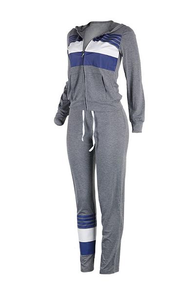 Leisure Long Sleeves Zipper Design Gray Cotton Blend Two-piece Pants Set