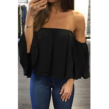 Leisure Bateau Neck Long Sleeves Flouncing Design Black Chiffon Blousing Blouse