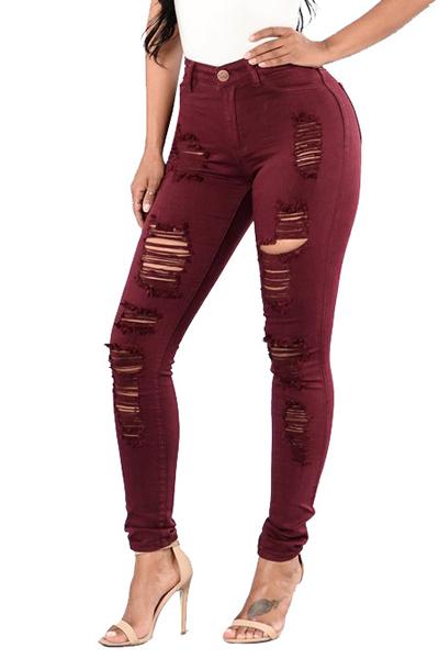 Jeans Euramerican de cintura alta Design Jeans de algodón rojo