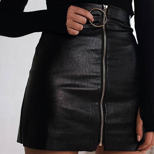 Trendy High Waist Zipper Design Black Leather Mini Skirts