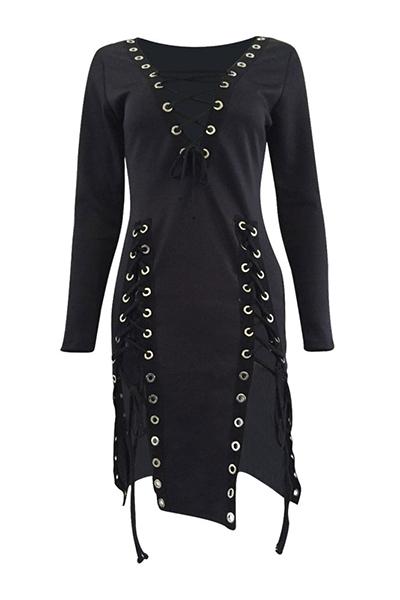 Сексуальная V Шея Длинные рукава Кружева до полых черных здоровых тканей мини платье