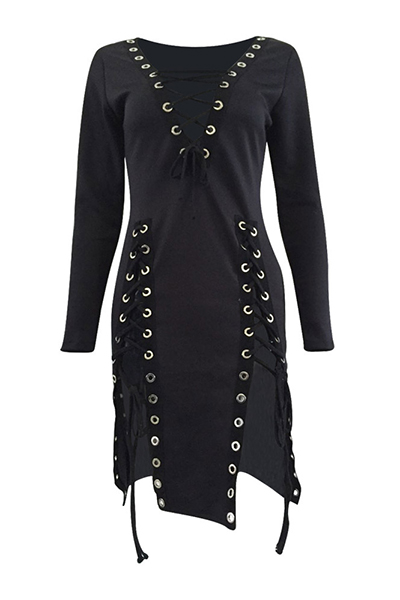 Sexy V-Ausschnitt Lange Ärmel Lace-up Hollow-out Schwarze Gesunde Stoff Mini Kleid