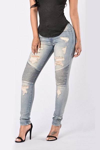 Trendy High Waist Broken Holes Patchwork Dark Blue Denim Jeans