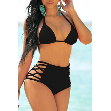 Sexy Halter Neck Hollow-out Black Spandex Two-piece Swimwear