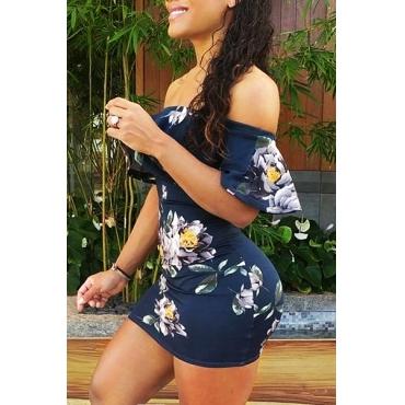 Sexy Bateau Neck Short Sleeves Floral Print Blue Qmilch Sheath Mini Dress