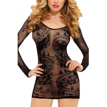 Sexy Round Neck Long Sleeves See-Through Black Lace Nightdress