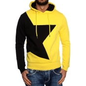 Leisure Hooded Collar Long Sleeves Patchwork Yello