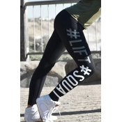 Casual High Waist Letters Printed Black Cotton Leg
