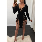 Sexy V Neck Long Sleeves Lace-up Hollow-out Black
