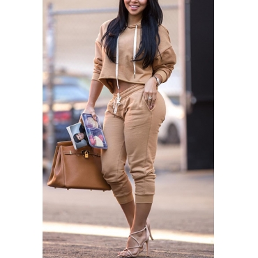 Leisure Hooded Collar Long Sleeves Drawstring Khaki Cotton Two-piece Pants Set