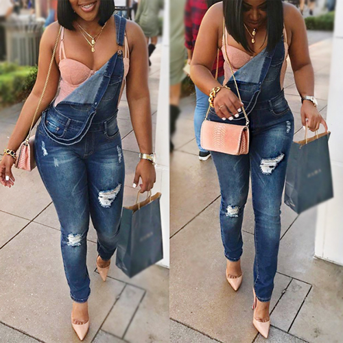 LovelyStylish Spaghetti Strap Sleeveless Broken Holes Blue Denim One-piece Jumpsuits