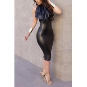 Trendy Round Neck Sleeveless Falbala Design Black