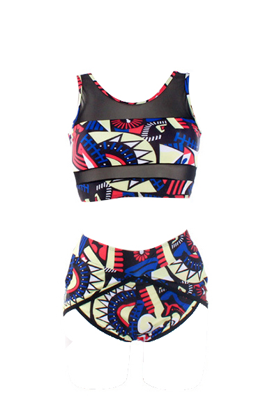 High Waist Multi-color Printed Two-piece Swimwear
