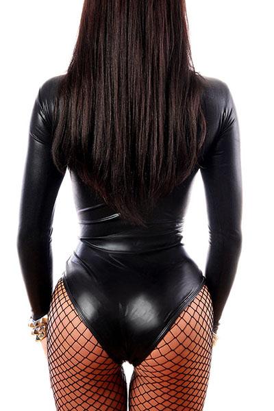 Сексуальные круглые шеи с длинными рукавами Black Faux Цельные комбинезоны