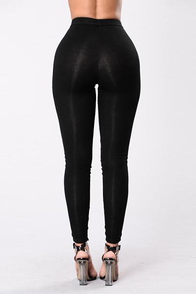 Euramerican High Waist Hollow-out Black Qmilch Skinny Pants