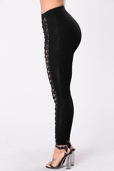 Euramerican High Waist Hollow-out Black Qmilch Skinny Pants