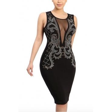Sexy Round Neck Sleeveless Gauze Patchwork Black Polyester Sheath Knee Length Dress
