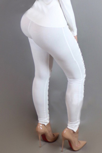 Sexy High Taille Hollow-out weiß Polyester Leggings