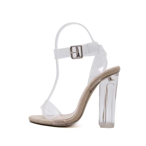 Punta con punta elegante hueco-out Stiletto Super High Heel Albaricoque PU Sandalias