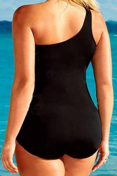 Sexy Gauze Patchwork Black Ployester One-piece Swimwear