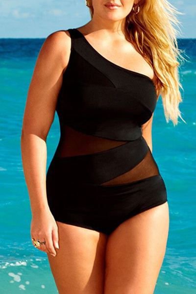 Sexy Gauze Patchwork Black Ployester One-piece Swimwear