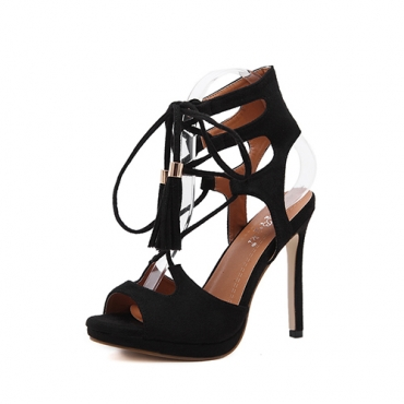 Suede Stiletto Super High Fashion Cross Strap Sandals