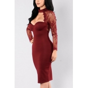 Healthy Fabric Sexy V Neck Long Sleeve Sheath Knee