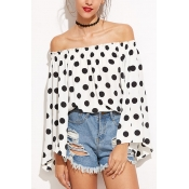 Pullovers Cotton Bateau Neck Long Sleeve Dot Blous