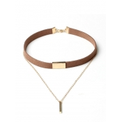 Brown Multi-storey Design Flocking Choker